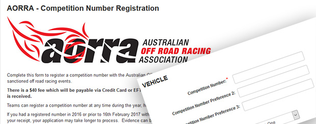 AORRA Open Competition Number Registrations